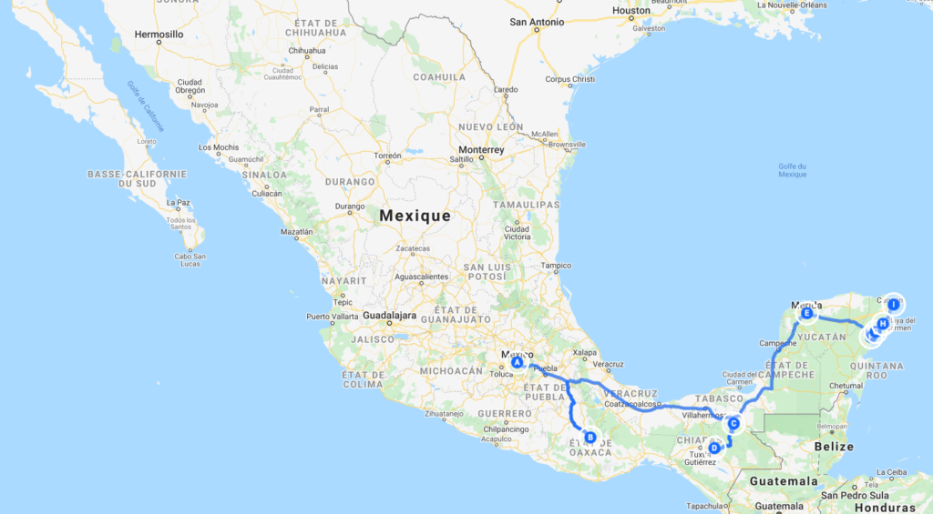 Plan du circuit effectué en bus par Emilie en 1 mois au Mexique