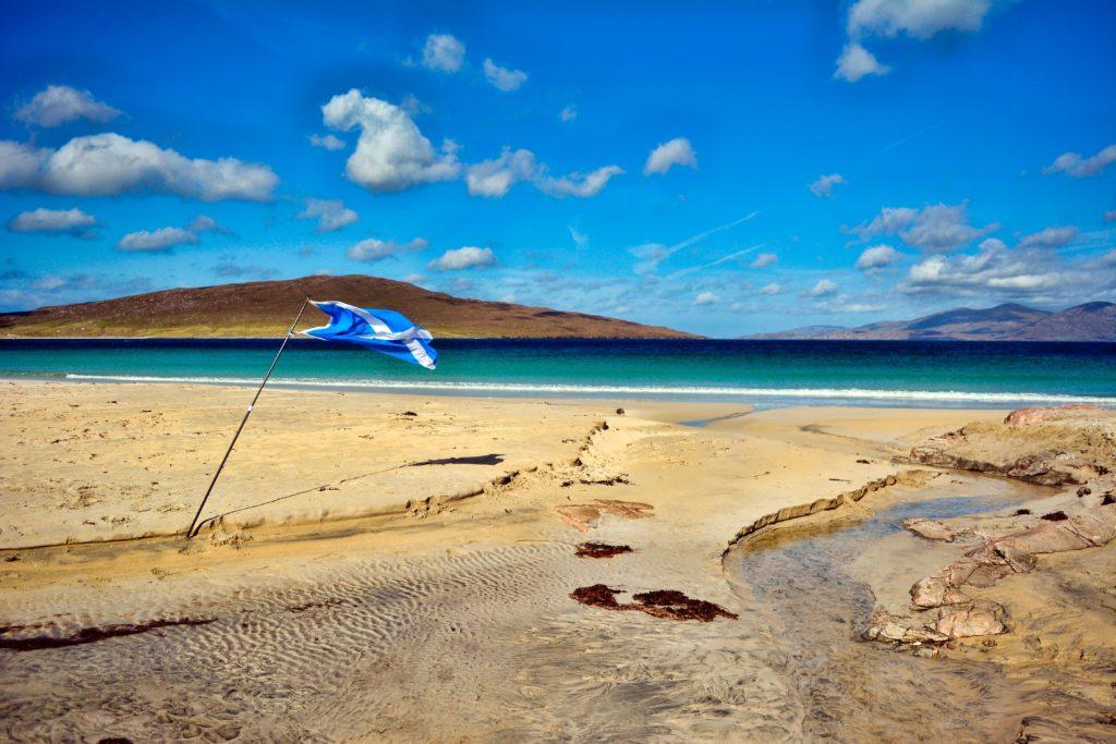 A Scottish Flag on Luskentyre Beach, Isle Of Harris, Outer Hebrides, Scotland