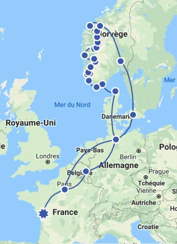 Circuit du road-trip d'Eugénie de Paris à la Norvège